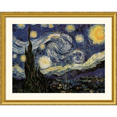 Great American Picture The Starry Night Gold Framed Print - Vincent van Gogh