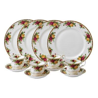 Old Country Roses 12 Piece Dinnerware Set