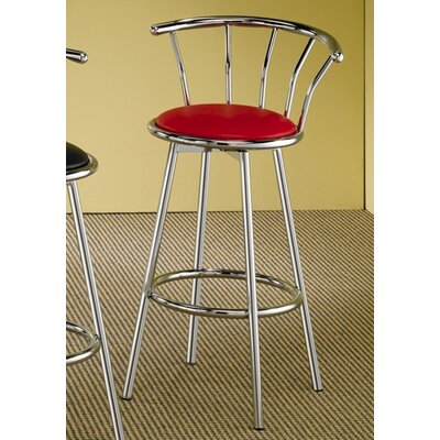 "Wildon Home ® Blachy 29"" Bar Stool with Back in Chrome and Red Seat"