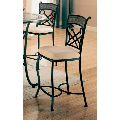 "Wildon Home ® Cottonwood 24"" Barstool with Faux Marble Inlay in Black"