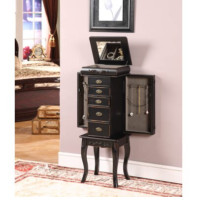 Wildon Home ® Morrel Six Drawer Jewelry Armoire in Distressed Black