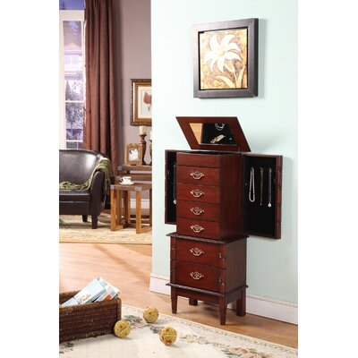 Wildon Home ® Luxemburg Classic Six Drawer Jewelry Armoire with Charging Unit in Cherry