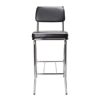 "Wildon Home ® Red Cliff 29"" Retro Bar Stool with Back in Chrome"