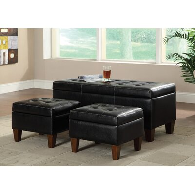 Wildon Home ® 3 Piece Vinyl Bench and Ottoman Set