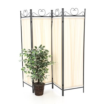 Wildon Home ® Port Angeles Four Panel Butterfly Decor Folding Screen in Metal Black Verde
