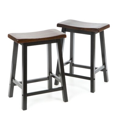 "Wildon Home ® Aloha 24"" Stool in Oak and Black"