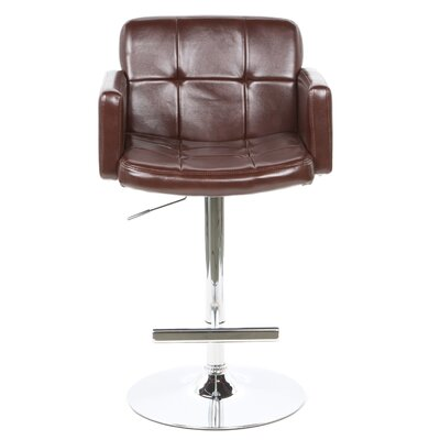 "Wildon Home ® Colorado City 29"" Tufted Vinyl Barstool with Footrest in Brown"