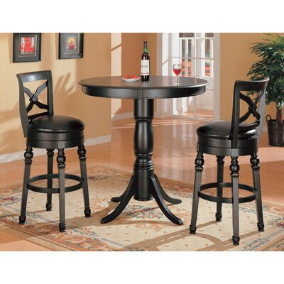 Wildon Home ® Littleton Contemporary Round Bar Table Set in Black