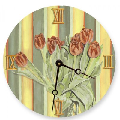Lexington Studios Orange Tulips Round Clock