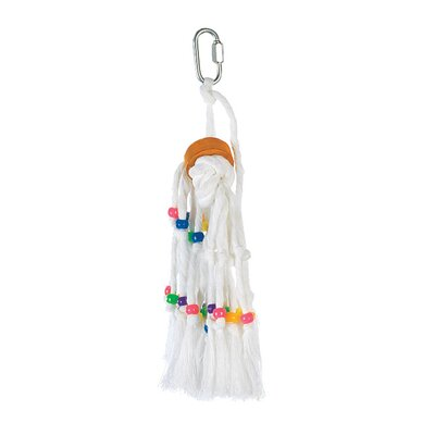 Hagen Living World Small Rope Tassel with Beads and Wood Cylinder Bird Toy