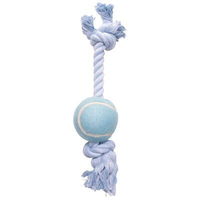 Hagen Dogit Cotton Rope Bone with Tennis Ball Dog Toy in Blue