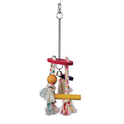 Hagen Living World Junglewood Bird Toy Rope Chime with Round Top Bell Bead Block Cylinder and Peg