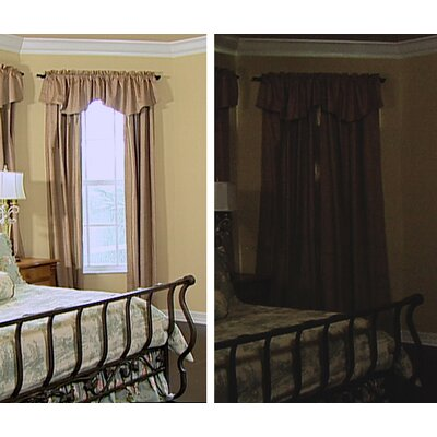 Sound Asleep Room Darkening Rod Pocket Ascot Window Panel Set in Ivory