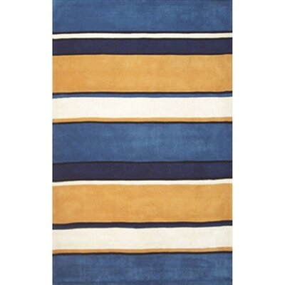 Beach Rug Sunny Blues Multi Ocean Stripes Rug