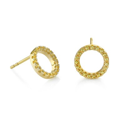 "kathy ireland Jewelry ""Love Shape Yellow Circle"" 18kt Yellow Gold and Yellow Sapphire Earrings"