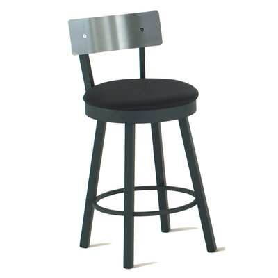 "Amisco Lauren 30"" Swivel Barstool with Stainless Steel Backrest"