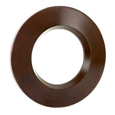 Majestic Mirror Contemporary Plain Round Mirror in Walnut