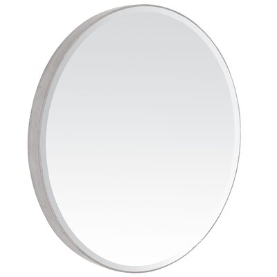 Contemporary Beveled Oval Mirror in Antique Silver