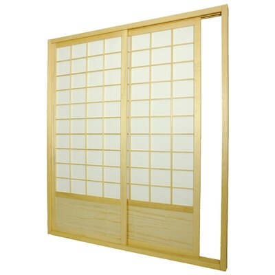 Oriental Furniture Double Sided Sliding Door Room Divider in Natural