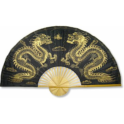 Oriental Furniture Golden Dragons Wall Fan