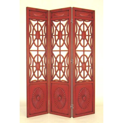 Oriental Furniture Spider Web Room Divider in Red