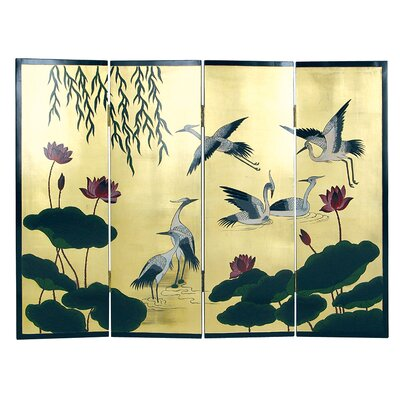 3 Feet Tall Crane and Lotus Screen