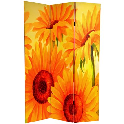 6 Feet Tall Double Sided Poppies and Sunflowers Canvas Room Divider