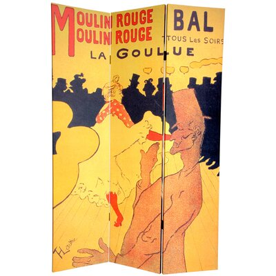 6 Feet Tall Double Sided Works of Toulouse-Lautrec Room Divider
