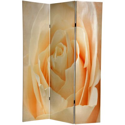 Oriental Furniture 6 Feet Tall Floral Double Sided Room Divider in Peach Rose