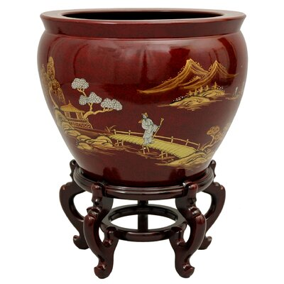 "Oriental Furniture 16"" Landscape Fish Bowl with Stand in French Red Crackle Lacquer"