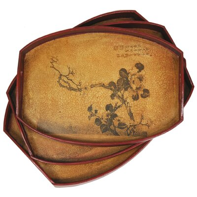 Oriental Furniture Branch of Life Tray (Set of 3)