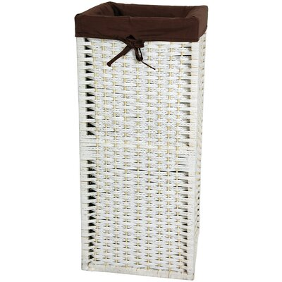 "Oriental Furniture 28"" Laundry Hamper in White"
