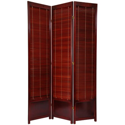 7 Feet Tall Wooden Shutter Screen in Rosewood