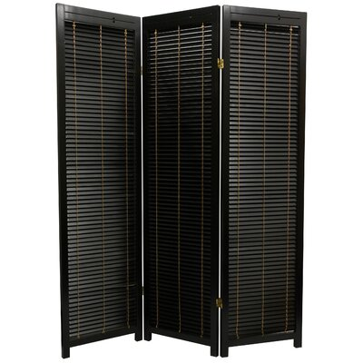 Oriental Furniture 5 Feet Tall Wooden Shutter Three Panel Screen in Black