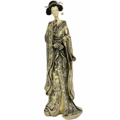Oriental Furniture 17&quot; Geisha Figurine with Small Bow Kimono