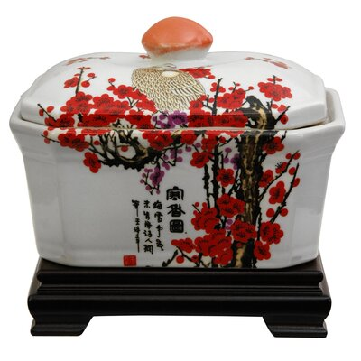 Oriental Furniture Covered Jar with Cherry Blossom Design in White