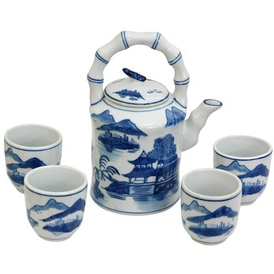 5 Piece Porcelain Landscape Tea Set in Ming Blue and White