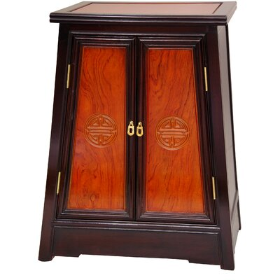 Oriental Furniture Long Life Cabinet in Light and Medium Cherry Stain