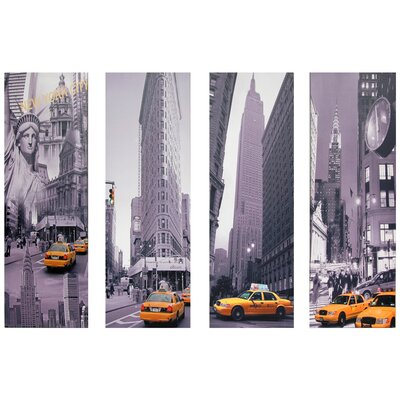 "Oriental Furniture New York Taxi Canvas Wall Art - 33.5"" x 11.75"" (Set of 4)"