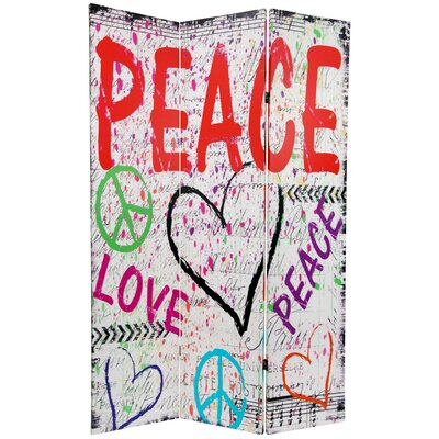 Oriental Furniture Double Sided Peace and Love 3 Panel Room Divider in White