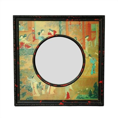 Oriental Furniture Oriental Village Scene Wall Mirror