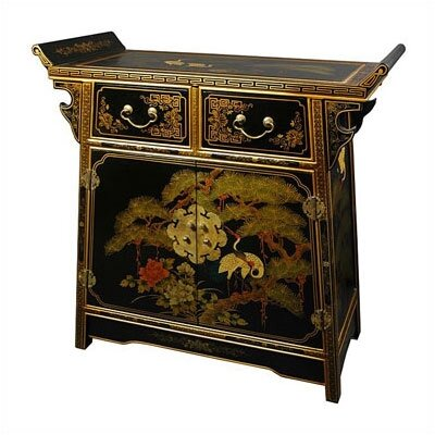 Oriental Furniture Asian Black Lacquer Altar Cabinet