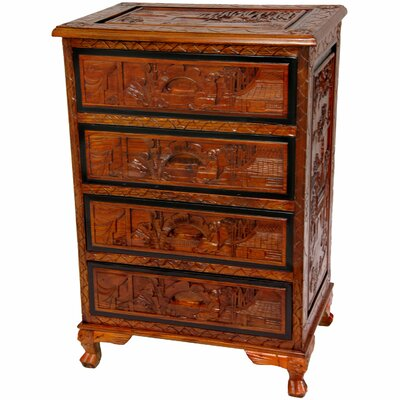 Oriental Furniture Carved 4 Drawer Chest