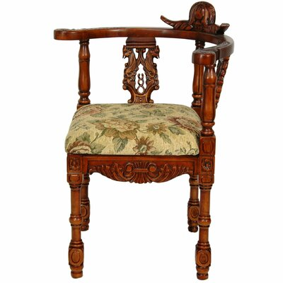Oriental Furniture Queen Anne Corner Fabric Arm Chair
