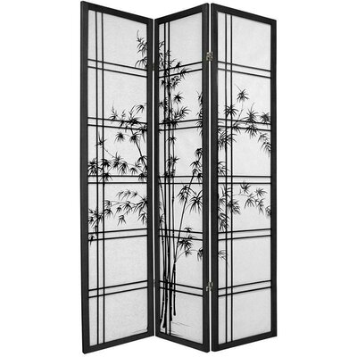 "Oriental Furniture 72"" Double Crossed Bamboo Tree Room Divider in Black"