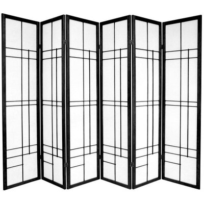 "Oriental Furniture 72"" Eudes Decorative Paned Room Divider in Black"