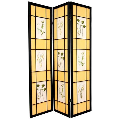 Herbal Scene Shoji Room Divider in Black