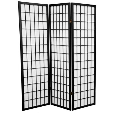 Oriental Furniture 5 Feet Tall Window Pane Shoji Screen in Black