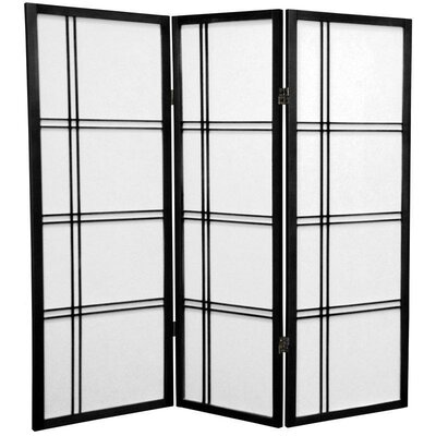 4 Feet Tall Double Cross Shoji Screen in Black