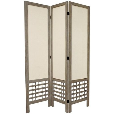 Oriental Furniture 6 Feet Tall Open Lattice Fabric Room Divider in Burnt Grey